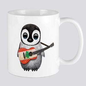 Baby Penguin Playing Lebanese Flag Guitar Mugs