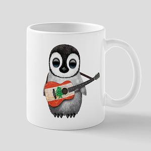 Baby Penguin Playing Lebanese Flag Guitar Mugs