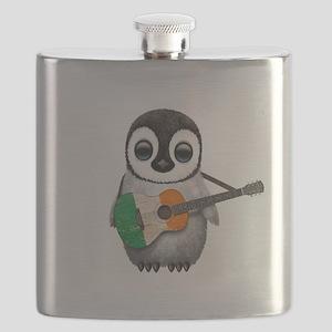 Baby Penguin Playing Irish Flag Guitar Flask
