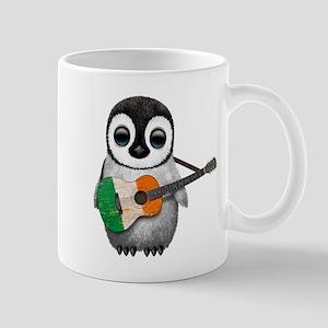 Baby Penguin Playing Irish Flag Guitar Mugs