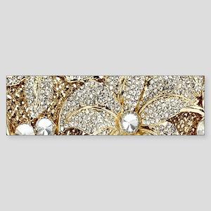 floral champagne gold rhinestone Bumper Sticker