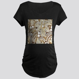 floral champagne gold rhinestone Maternity T-Shirt
