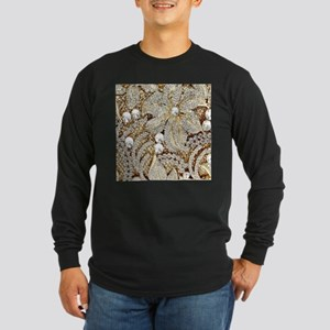 floral champagne gold rhinesto Long Sleeve T-Shirt