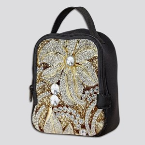 floral champagne gold rhineston Neoprene Lunch Bag