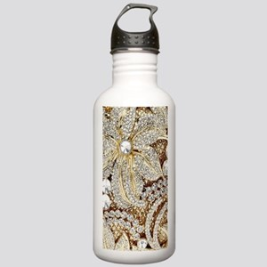 floral champagne gold Stainless Water Bottle 1.0L