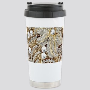 floral champagne gold r Stainless Steel Travel Mug
