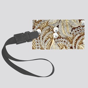 floral champagne gold rhinestone Large Luggage Tag