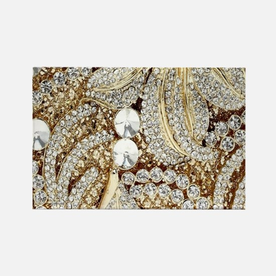 floral champagne gold rhinestone Magnets