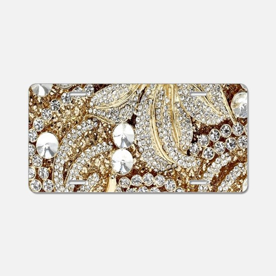 floral champagne gold rhine Aluminum License Plate