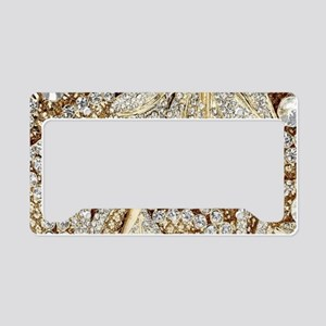 floral champagne gold rhinest License Plate Holder