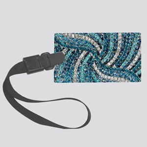bohemian crystal teal turquoise Large Luggage Tag