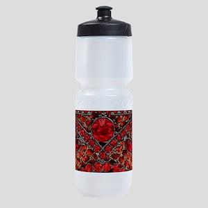 bohemian gothic red rhinestone Sports Bottle
