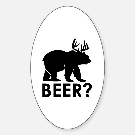Cute Black and white deer Sticker (Oval)