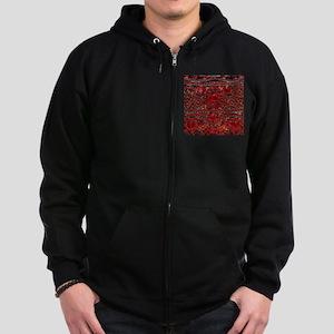 bohemian gothic red rhinestone Zip Hoodie (dark)