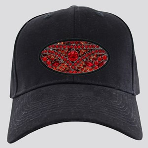 bohemian gothic red rhinestone Black Cap