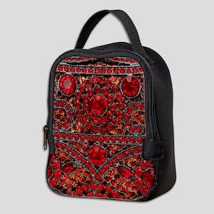bohemian gothic red rhinestone Neoprene Lunch Bag