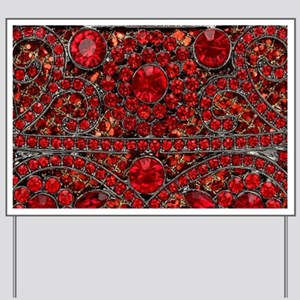 bohemian gothic red rhinestone Yard Sign
