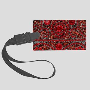 bohemian gothic red rhinestone Large Luggage Tag