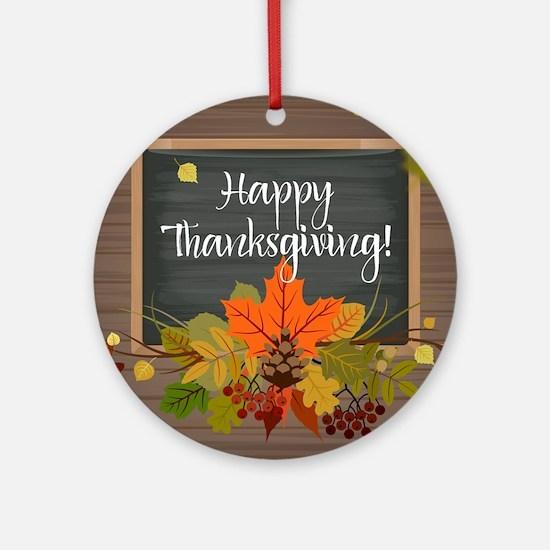 Happy Thanksgiving Round Ornament