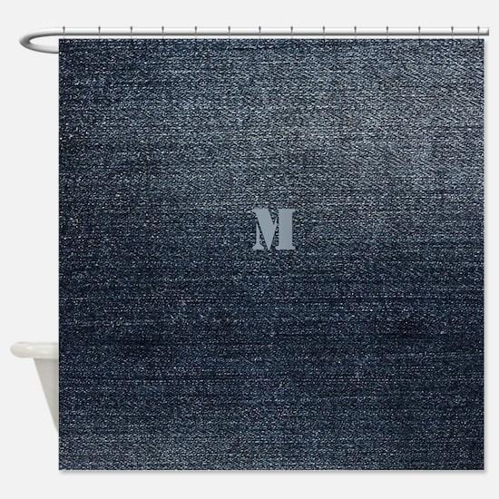 Cool Rustic Look Blue Denim Shower Curtain