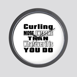 Curling More Awesome Than Whatever It I Wall Clock