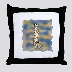 Meerkat standing Throw Pillow