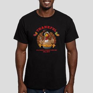 Thankful Family Turkey Men's Fitted T-Shirt (dark)