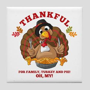 Thankful Family Turkey Pie Tile Coaster