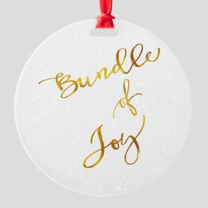 Bundle of Joy Gold Faux Foil Metall Round Ornament