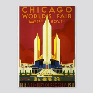 Chicago, Worlds Fair, Vintage Poster 5'x7'