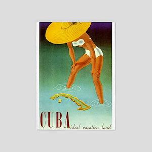 Cuba,travel, Vintage Poster 5'x7'area Rug