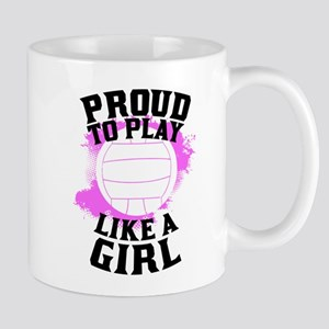 Proud To Play Like A Girl Volleyball Mugs