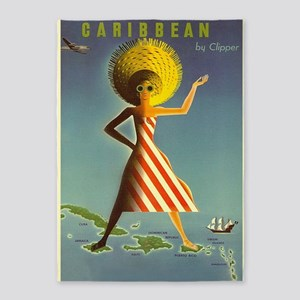 Caribbean, Travel, Vintage Poster 5'x7'are