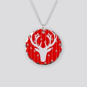 Red and white arrows and dee Necklace Circle Charm