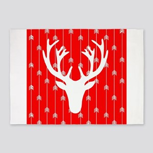 Red and white arrows and deer head 5'x7'Area Rug