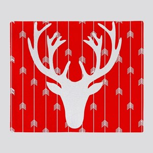 Red and white arrows and deer head Throw Blanket
