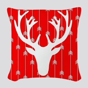 Red and white arrows and deer Woven Throw Pillow