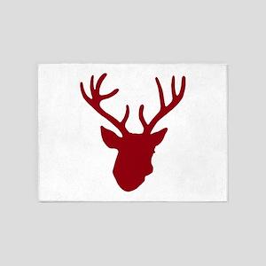 Deer Head: Rustic Red 5'x7'Area Rug