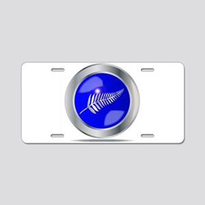 Silver Fern Button Aluminum License Plate