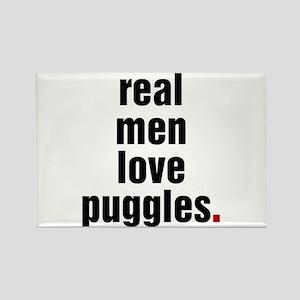 Real Men Love Puggles Rectangle Magnet