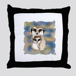 Meerkat mom and babe Throw Pillow