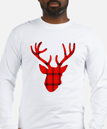 Deer Head: Rustic Red Plaid Long Sleeve T-Shirt