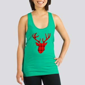 Deer Head: Rustic Red Plaid Racerback Tank Top