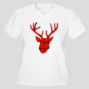 Deer Head: Rustic Women's Plus Size V-Neck T-Shirt