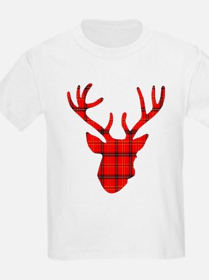 Deer Head: Rustic Red Plaid T-Shirt