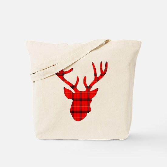Deer Head: Rustic Red Plaid Tote Bag