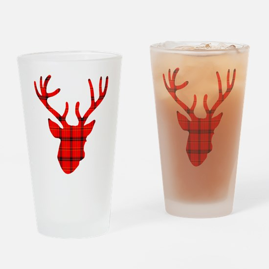 Deer Head: Rustic Red Plaid Drinking Glass