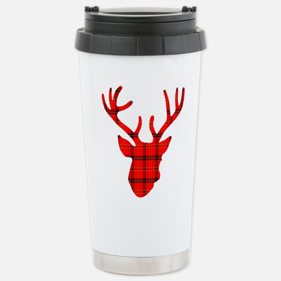 Deer Head: Rustic Red P Stainless Steel Travel Mug