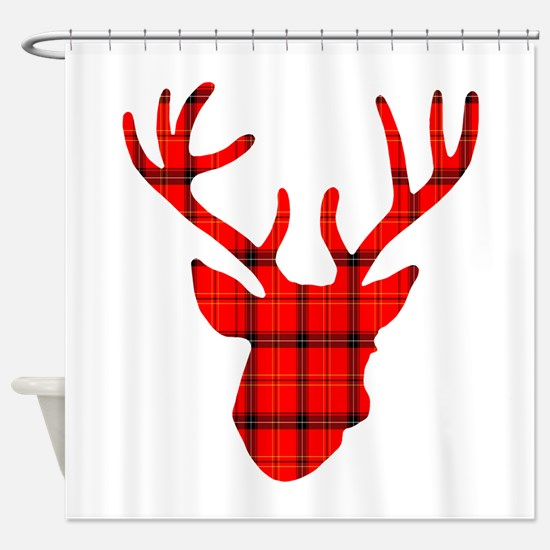 Deer Head: Rustic Red Plaid Shower Curtain