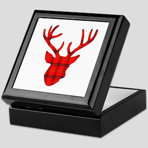 Deer Head: Rustic Red Plaid Keepsake Box